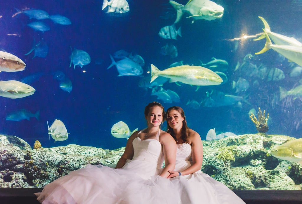 These Brides Tied the Knot at an Aquarium, and Wow, That Floor-to-Ceiling Fish Tank!