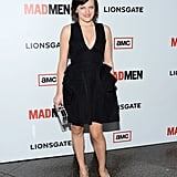For the season-six premiere of Mad Men, Elisabeth ditched her Peggy persona and opted for a sexy, plunging black party dress and pumps.