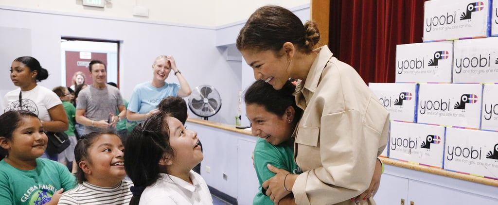 Zendaya Visits Global Family Elementary School in Oakland