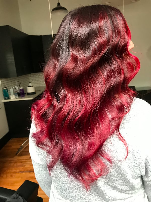Pomegranate Brunette Rainbow Hair Color Ideas For