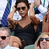 Victoria Beckham popped up in the Wimbledon stands wearing a sexy lace dress.