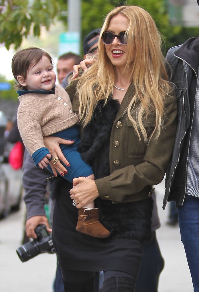 Rachel Zoe stepped out with her son Skyler Berman to meet her friend and makeup artist Joey Maalouf for lunch yesterday. The trio met up at the Newsroom on Robertson Boulevard in LA, a favorite restaurant of Rachel's. Before heading out for a bite, the stylish mom shared a picture of her look for the day, which featured a handbag by The Row and a Burberry jacket. After lunch, Skyler and Rachel bid goodbye to Joey and headed to Whole Foods to stock up on groceries. Rachel has settled back into her daily routine in recent days, lunching with Joey twice and meeting up with her Rachel Zoe, Inc. team, after a busy Oscar weekend. Rachel put in an appearance at Vanity Fair's Academy Awards party in a dress of her own design with husband Rodger Berman by her side. She also put her styling skills to work in a new way this award season, designing Oscar-themed window displays for Tiffany & Co. flagship stores in cities including Hong Kong and Beverly Hills.