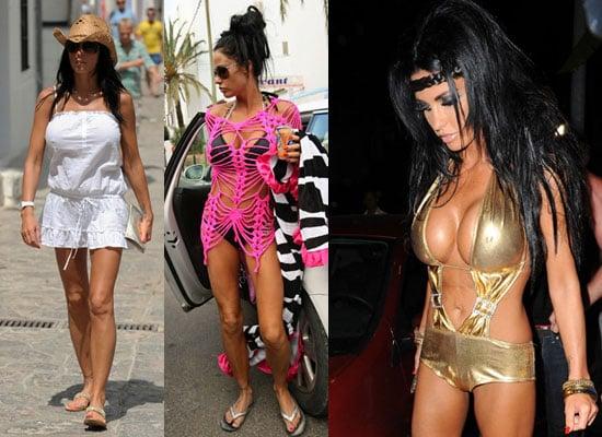 22/6/2009 Jordan aka Katie Price in Gold Bikini and Pink Mesh in Ibiza