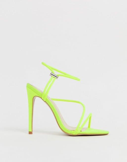 Simmi London Cassie Neon Yellow Toggle Detail Heeled Sandals