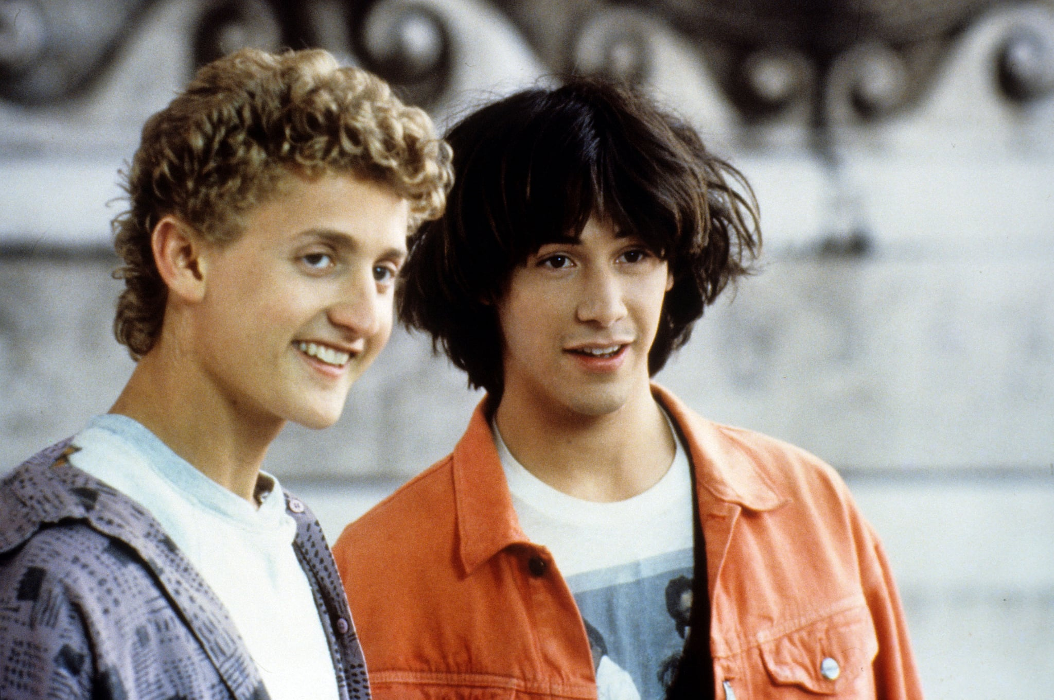 BILL AND TED'S EXCELLENT ADVENTURE, from left: Alex Winter, Keanu Reeves, 1989,  Orion/courtesy Everett Collection