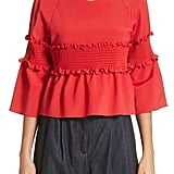 Tibi Smocked Ruffle Crop Top