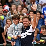 Nicolas Mahut and His Son During the French Open