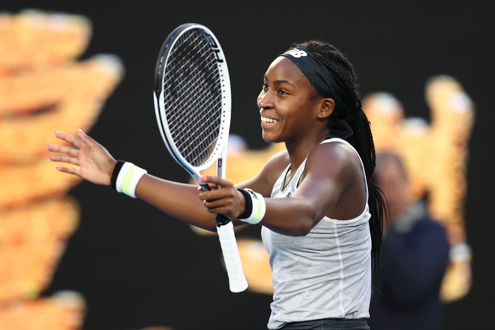 MELBOURNE, AUSTRALIA - JANUARY 24: Coco Gauff of the United States celebrates after winning her Women's Singles third round match against Naomi Osaka of Japan day five of the 2020 Australian Open at Melbourne Park on January 24, 2020 in Melbourne, Australia. (Photo by Hannah Peters/Getty Images)