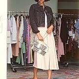 Ruffle Front Satin Slip Skirt