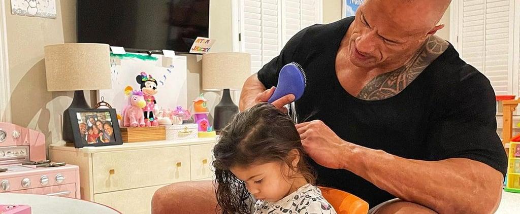 Dwayne Johnson Shares Post Brushing His Daughter's Hair