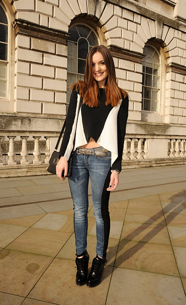 A cropped white and black knit is right on trend as we head into Spring.