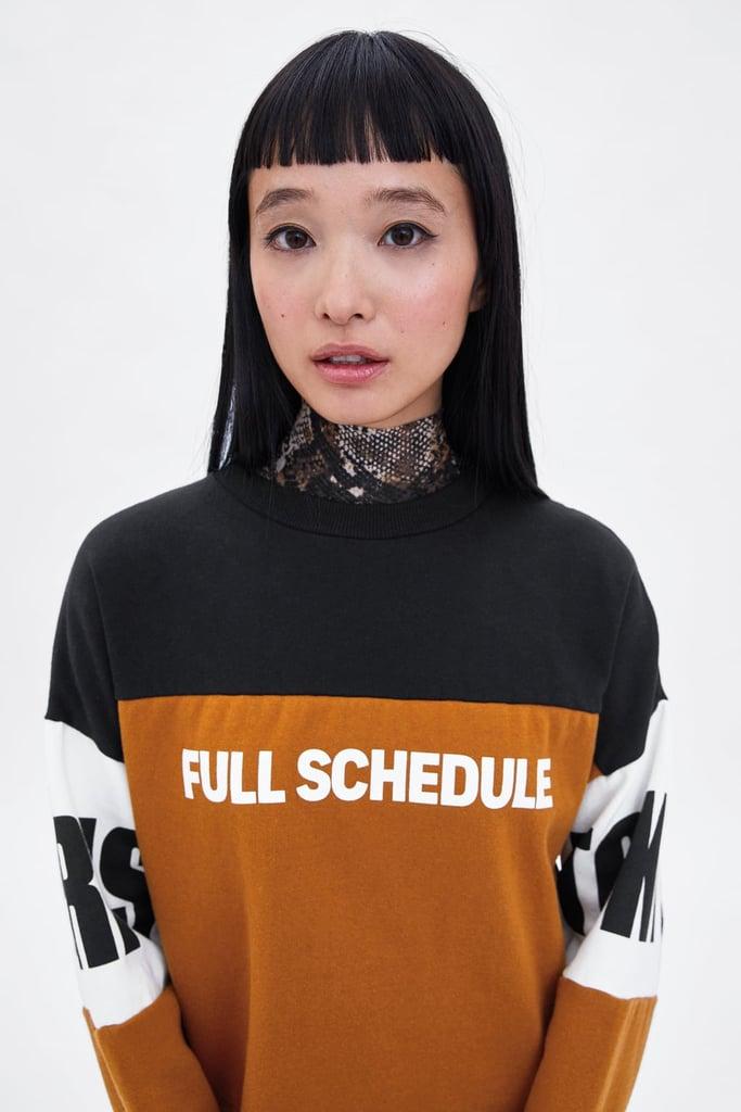 Zara Block Color Text Print Sweatshirt