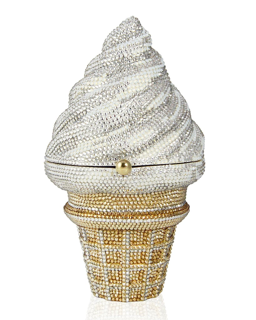 Judith Leiber Couture Crystal Strawberry Twist Ice Cream Cone Clutch Bag ($3,746, originally $4,995)