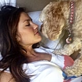 Minka Kelly gave her dog a morning smooch. Source: Instagram user minkak