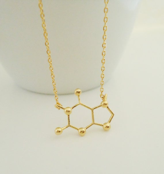 gold-plated molecular structure necklace