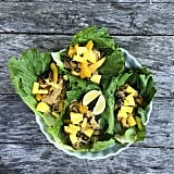 Lettuce cups make for a utensil-free way to enjoy a simple rice noodle stir-fry. The pineapple on top helps to balance out savory flavors.