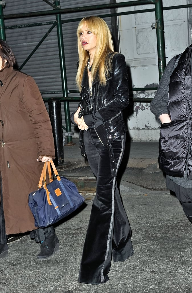 Rachel Zoe worked the rocker-chic angle outside of the Proenza Schouler show.