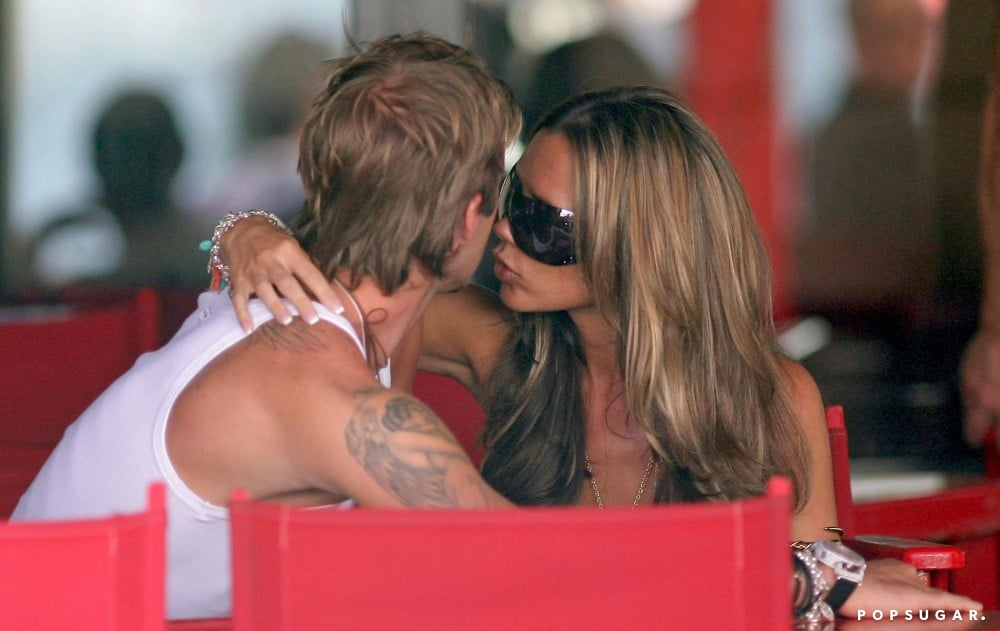 David and Victoria kissed during a Saint-Tropez trip in June 2004.