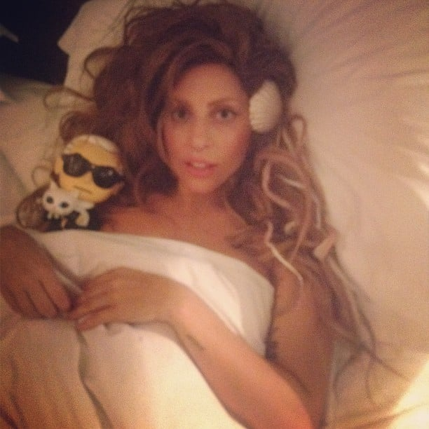 Lady Gaga slipped into bed with a Karl Lagerfeld doll. Source: Instagram user ladygaga