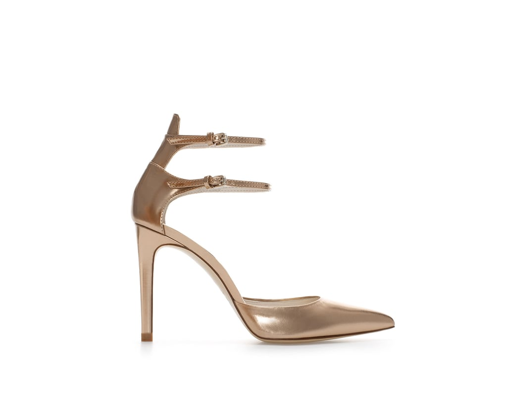 Zara Shiny Leather High Heel Point Shoe With Ankle Straps ($70, originally $100)