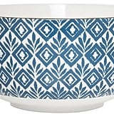 Clay Art Bowl Porcelain Blue Block Print
