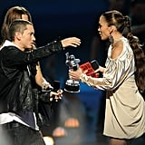 "She presented Eminem with the 2009 trophy for best hip-hop video for ""We Made You."""