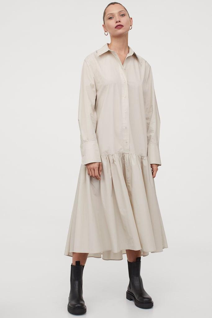 Flounced Shirt Dress