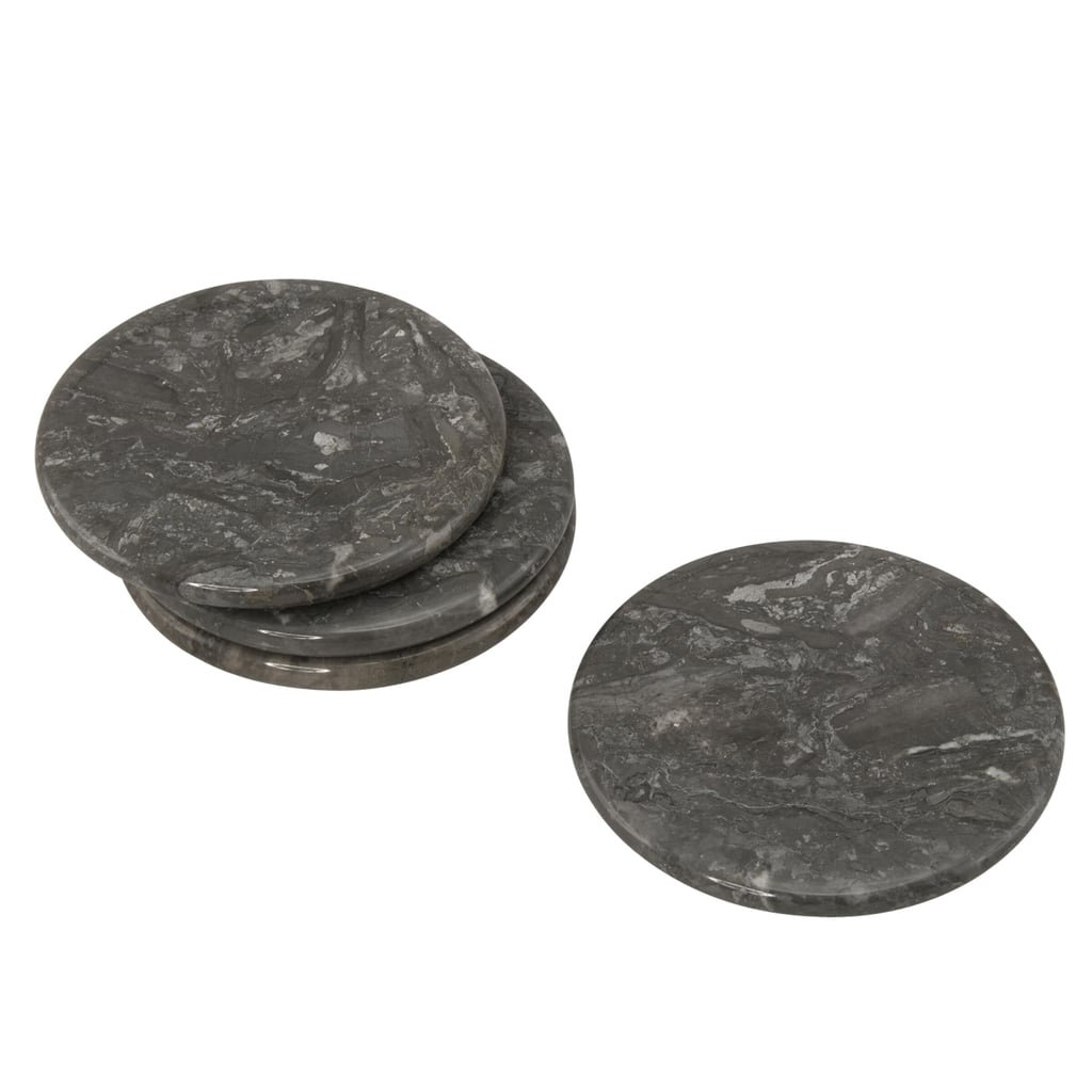 Creative Home Natural Charcoal Marble Set of 4-Pieces Round Coaster, 4 in. Dia.