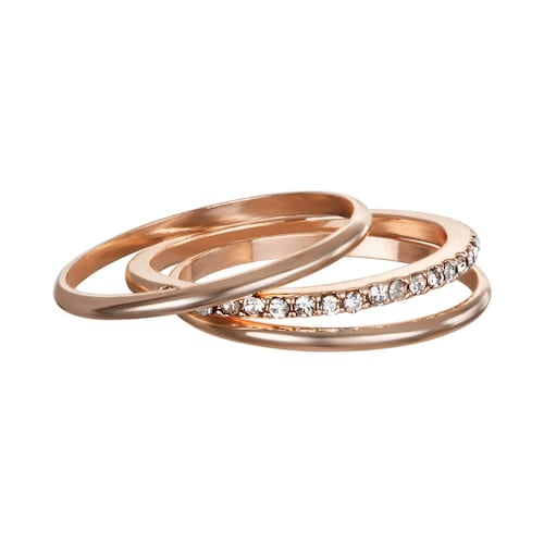 LC Lauren Conrad 3-Piece Pave Band Midi Ring Set