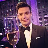 Ryan Seacrest toasted 2013 with champagne and black tie.  Source: Instagram user ryanseacrest