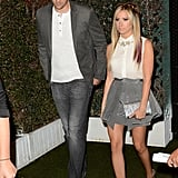 Ashley Tisdale and Scott Speer enter the party.