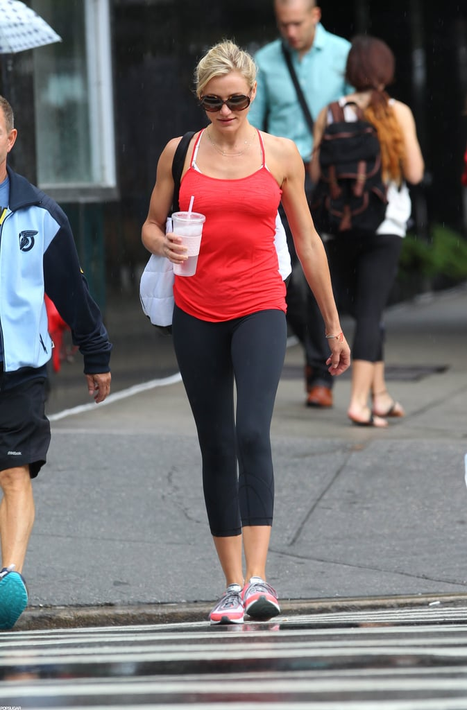 Cameron Diaz rocked a red workout top on her way to the gym in NYC.