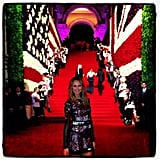 Stacy Keibler headed up the Met stairs in NYC. Source: Instagram user stacykeibler