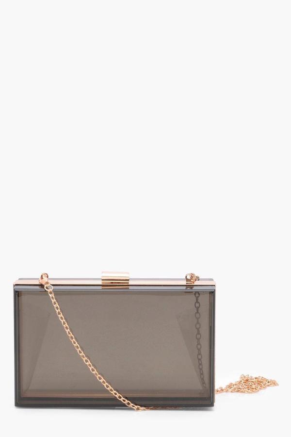 300ac23808 boohoo Tanya Coloured Clear Clutch Bag
