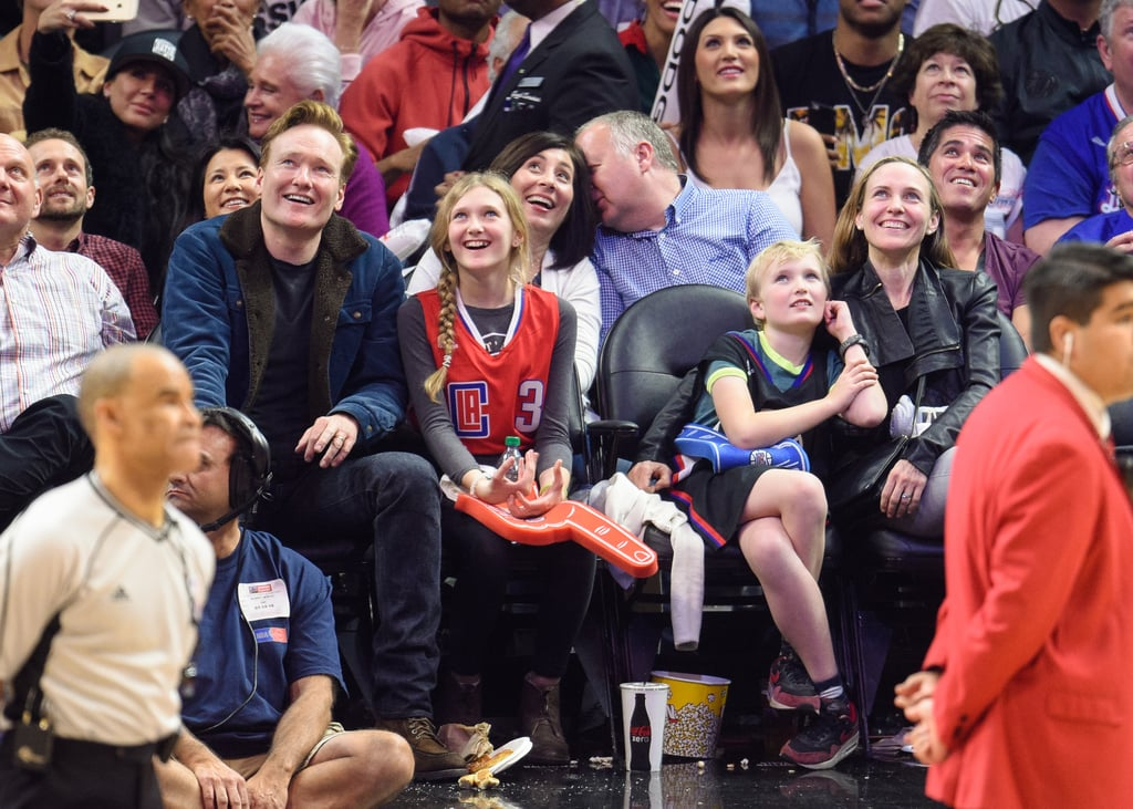 Conan O'Brien and Kids at the Clippers Game January 2016