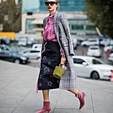 Style a Star-Print Skirt With a Plaid Coat