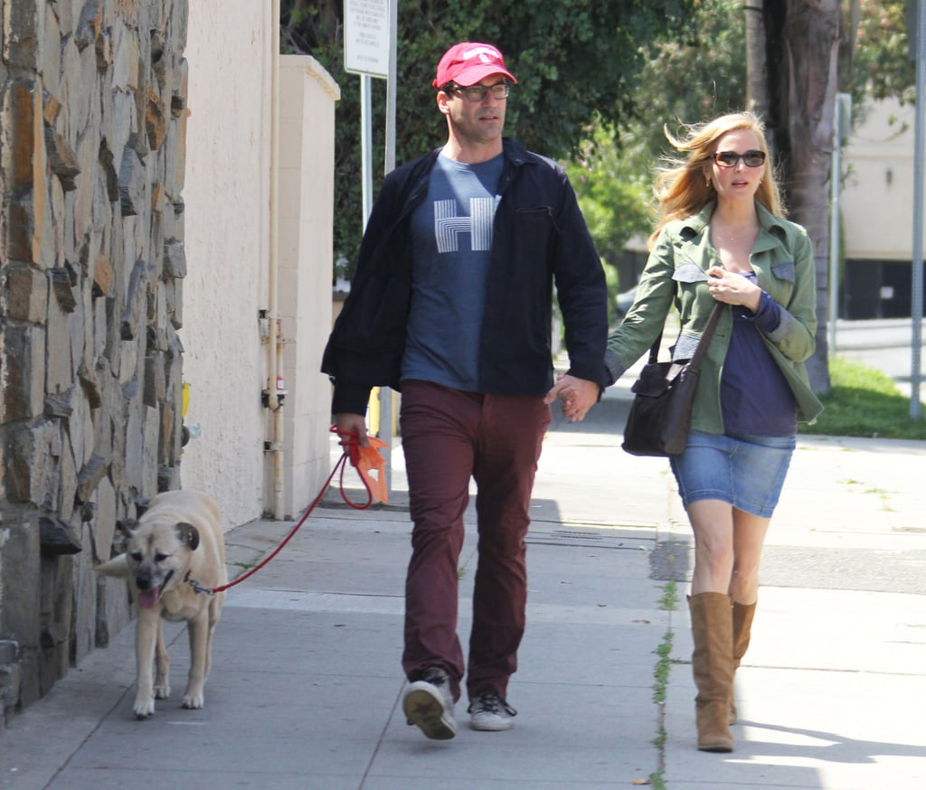 Jon Hamm, Jennifer Westfeldt, and their dog strolled through LA on Tuesday.