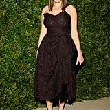 Bee Shaffer kept it ladylike in a sweetheart Dolce & Gabbana strapless.
