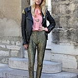 A pair of glittered pants are guaranteed to draw some attention.