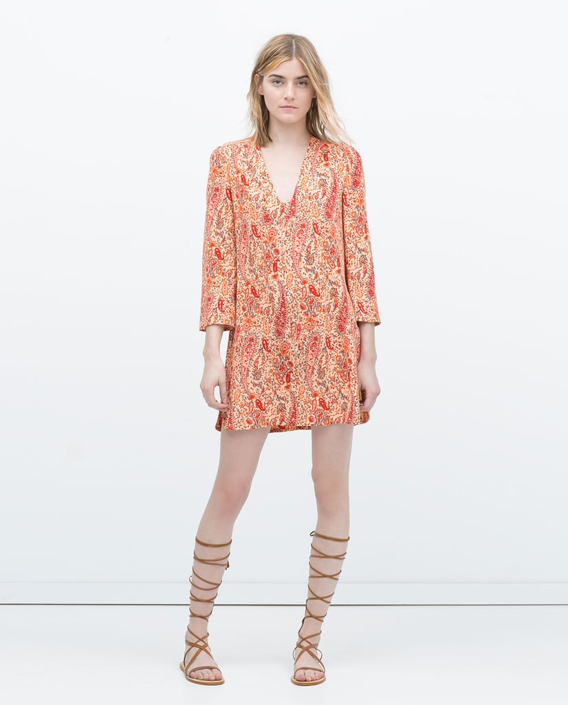 Zara printed tunic with flared sleeves ($80)