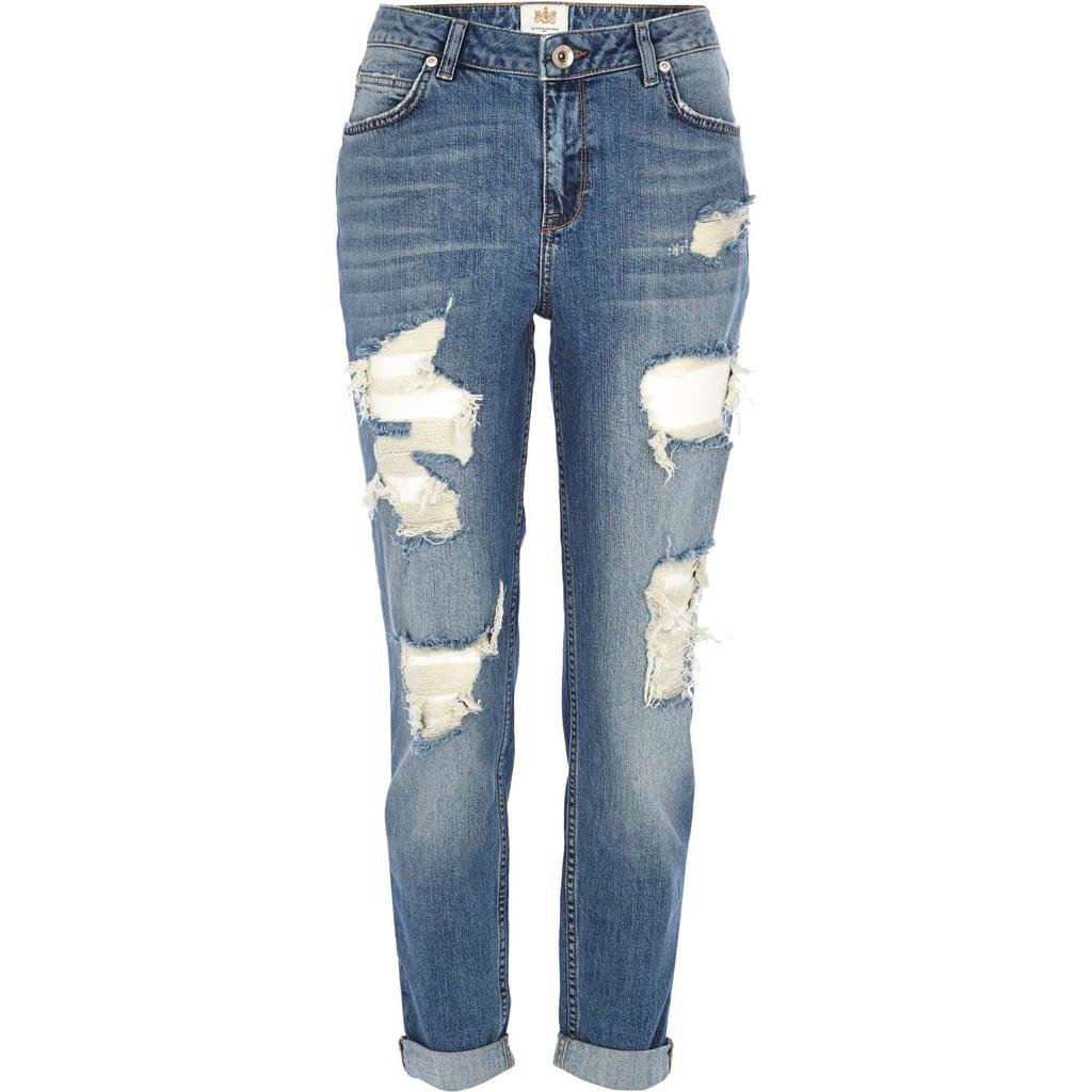 River Island Mid wash ripped Ashley boyfriend jeans ($80)