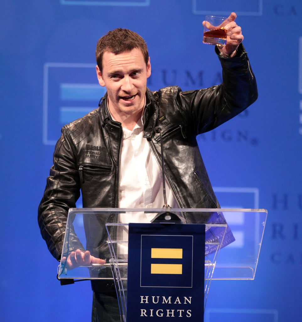 Michael Fassbender raised a toast at the Human Rights Campaign's LA gala in March 2012.