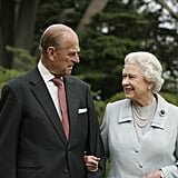 Queen Elizabeth II and Prince Philip celebrate their diamond anniversary in 2007.