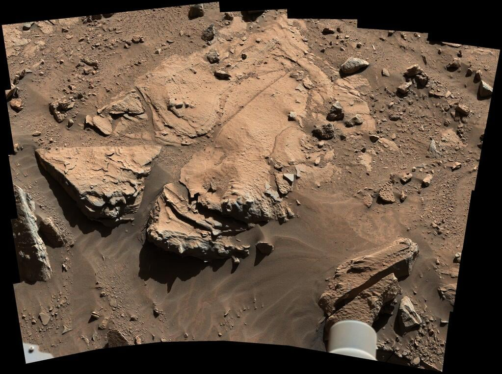 "Cute! The Curiosity rover tweeted this, saying, ""To drill or not to drill? Investigating my next potential drilling target on Mars.""  Source: Twitter user MarsCuriosity"