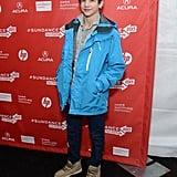 Tye Sheridan wore a blue parka.