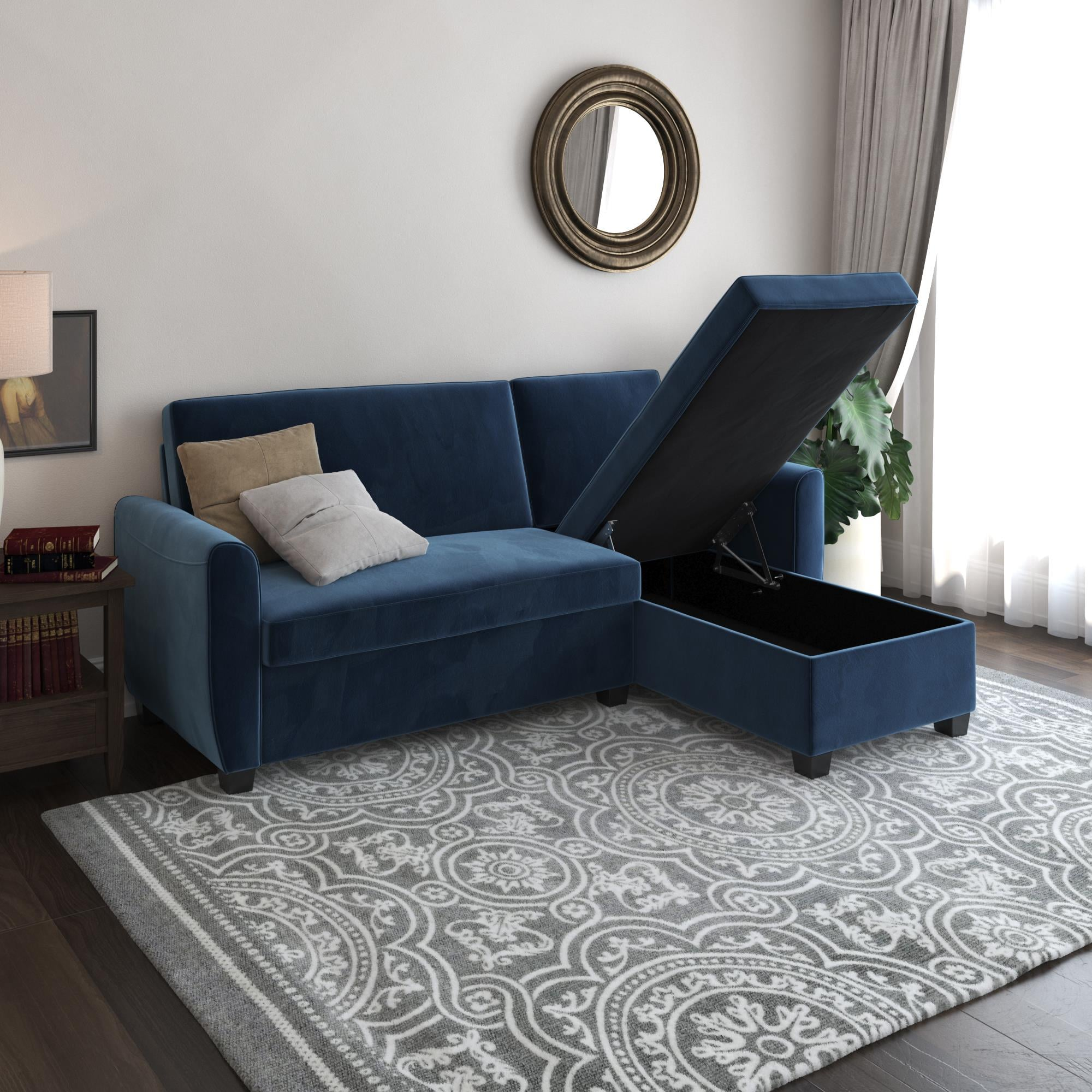 Dhp Noah Sectional Sofa Bed With Storage 11 Gorgeous Velvet