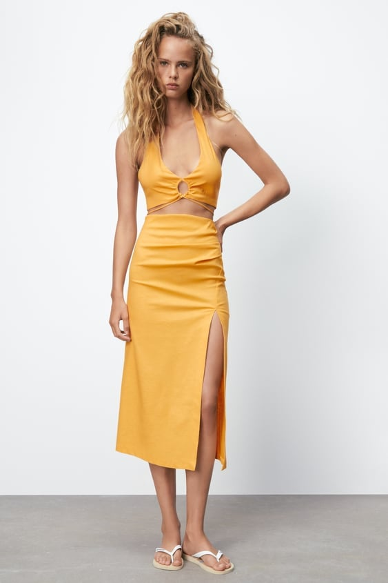 Linen Blend Skirt With Ruching