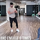 Step backward and forward with one foot while engaging your booty. Do this move eight times.