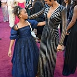 Halle Berry gave a hug to 9-year-old Oscar nominee Quvenzhané Wallis on the red carpet at the Oscars.