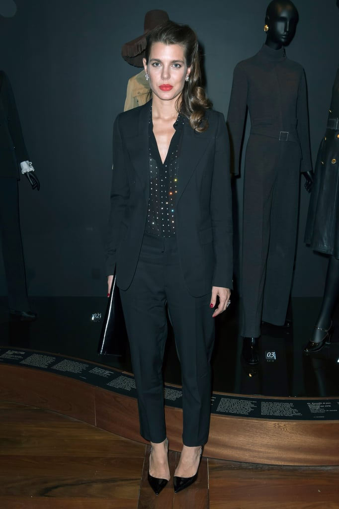 For the opening party at the Yves Saint Laurent museum in Paris, Charlotte wore a sophisticated black pantsuit.